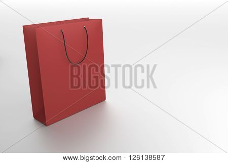 color paper bag on white background with reflection 3D Rendering