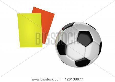 soccer ball and cards isolated 3D Rendering