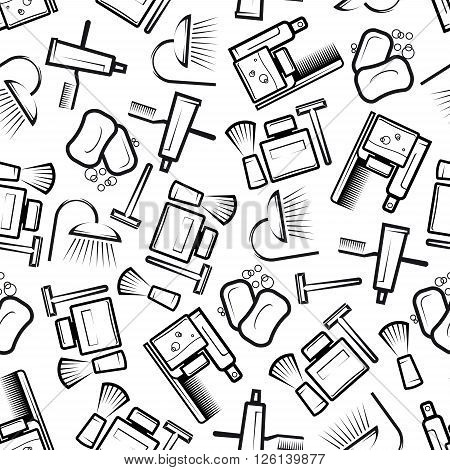 Seamless hygiene and bathroom accessories pattern with outline silhouettes of soap bars, shower heads, toothbrushes and toothpaste, shaving items, shampoo and lotion bottles, hair brushes over white background. Health care, medicine, hygiene theme