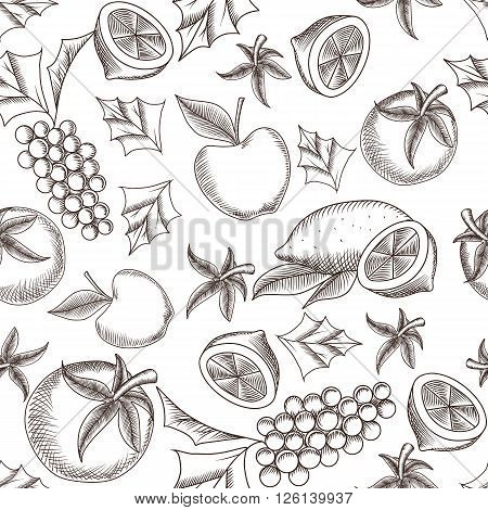 Fruity seamless pattern with hand drawing vector illustrations of lemon, grapes and apples