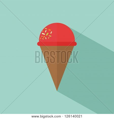 Ice cream cone icon with messes on the top