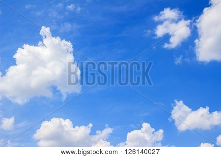 Blue sky background with white fluffy clouds