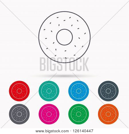 Donut icon. Sweet doughnuts sign. Breakfast dessert symbol. Linear icons in circles on white background.