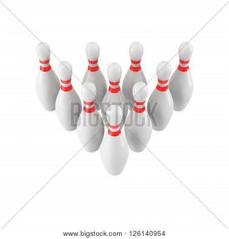 Group of Bowling Pins Isolated on White Background without shadow. 3D rendering. 3d render. For logo, advertising, wallpaper, print etc. Perspective view