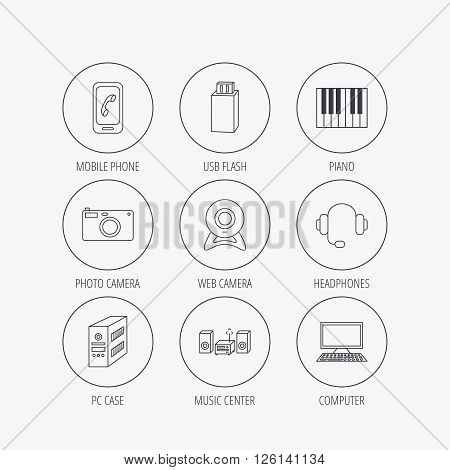 Photo camera, headphones and Usb flash icons. PC case, computer with monitor and web camera linear signs. Piano icons. Linear colored in circle edge icons.