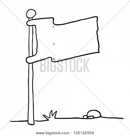 black and white flag on a pole isolated on white