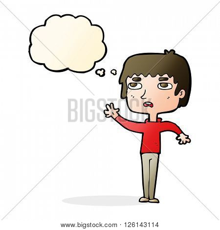 cartoon unhappy boy waving with thought bubble