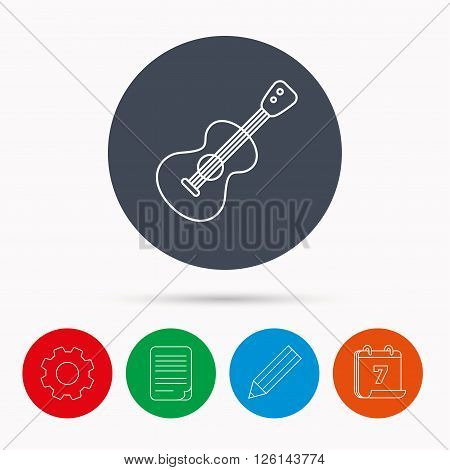 Guitar icon. Musical instrument sign. Band guitarist symbol. Calendar, cogwheel, document file and pencil icons.