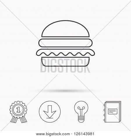 Hamburger icon. Fast food sign. Burger symbol. Download arrow, lamp, learn book and award medal icons.