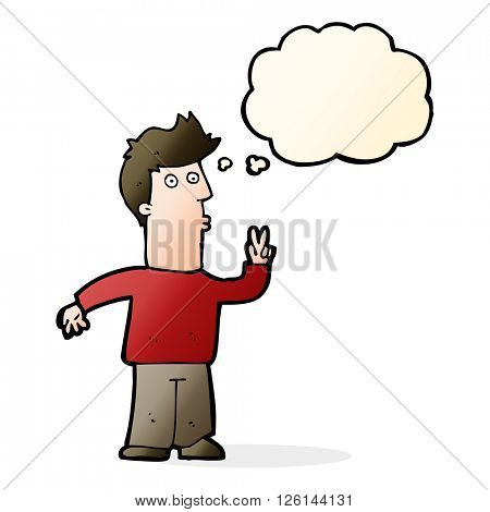 cartoon man signaling with hand with thought bubble