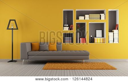 Colorful living room with sofa and niches used as a bookcase - 3d rendering
