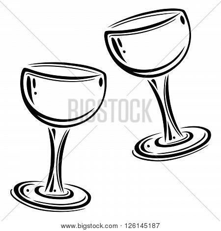 Set of wine glasses, black vector, design elements.