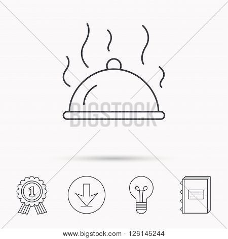 Restaurant cloche platter icon. Hot food sign. Download arrow, lamp, learn book and award medal icons.