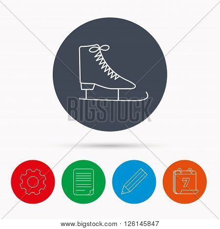 Ice skates icon. Figure skating equipment sign. Professional winter sport symbol. Calendar, cogwheel, document file and pencil icons.