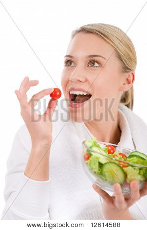 Healthy Lifestyle - Woman With Vegetable Salad