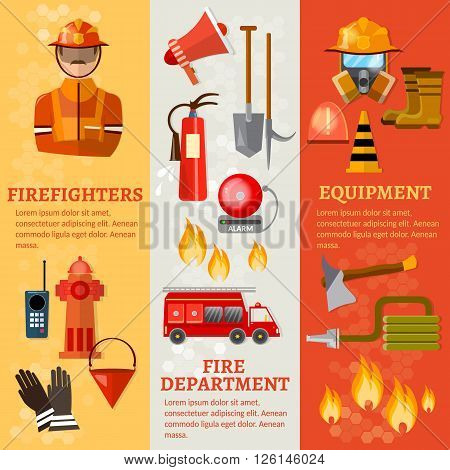 Professional firefighters banners fire safety equipment fireman