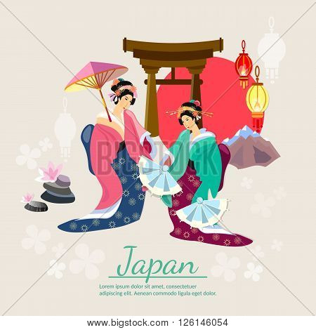 Japanese geisha japanese tradition and culture vector