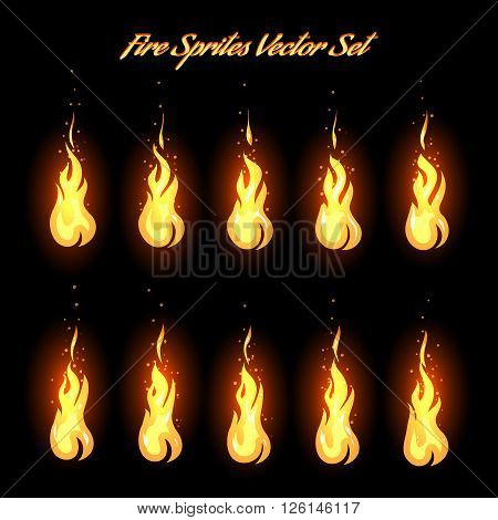 Fire animation frames icons or fire sprites vector illustration
