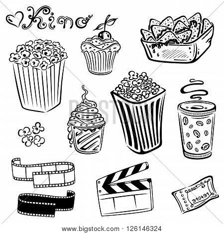 Cinema food, popcorn, ice cream, tacos and drinks.