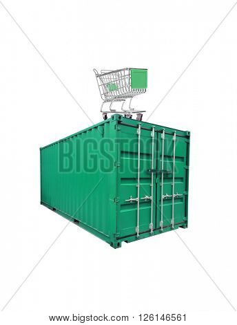 A shippping container on white