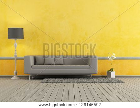 Gray modern sofa in a yellow living room - 3d rendering