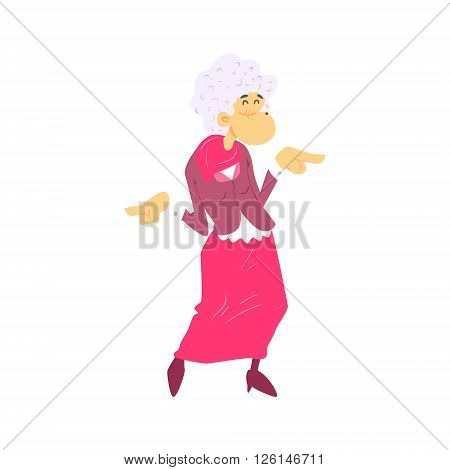 Old Woman Fashionista Cute Cartoon Style Isolated Flat Vector Illustration On White Background