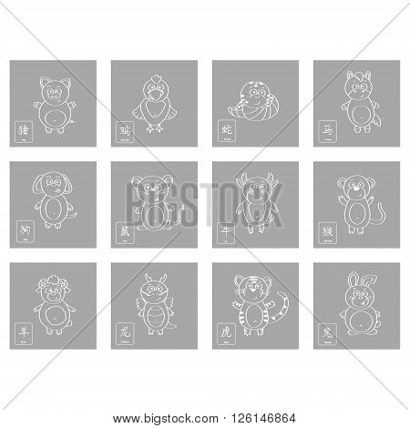icon set with chinese zodiac signs for your design