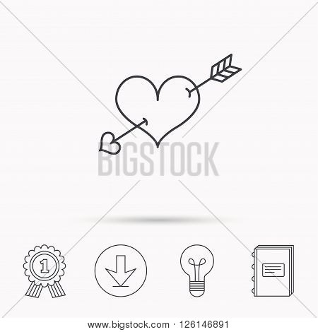 Love heart icon. Amour arrow sign. Download arrow, lamp, learn book and award medal icons.