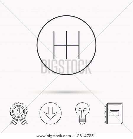 Manual gearbox icon. Car transmission sign. Download arrow, lamp, learn book and award medal icons.