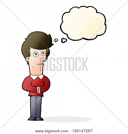 cartoon man staring with thought bubble