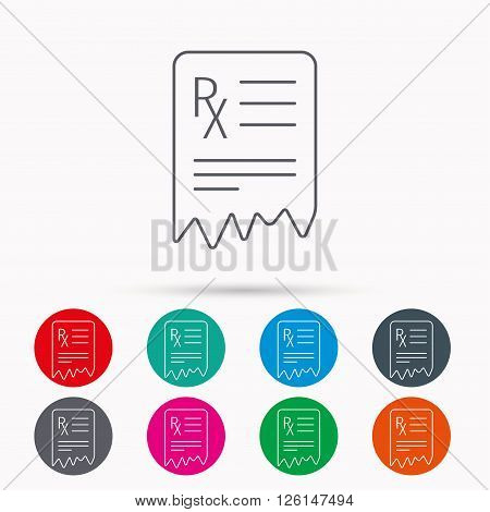 Medical prescription icon. Health document sign. Linear icons in circles on white background.