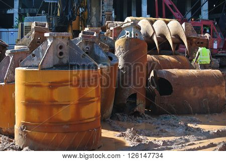 JOHOR, MALAYSIA - APRIL 02, 2015: Bore pile rig auger at the construction site in Johor, Malaysia. The bore pile rig machine used this auger during drilling soil for the foundation work.