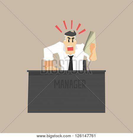 Angry Top Manager Primitive Geometric Cartoon Style Flat Vector Design Isolated Illustration