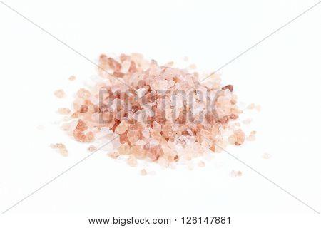Himalayan pink salt, on white background.