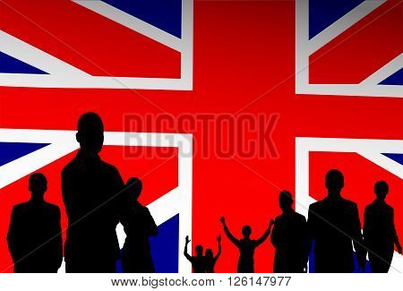 Silhouette People Group Over Great Britain English Flag Background Vector Illustration