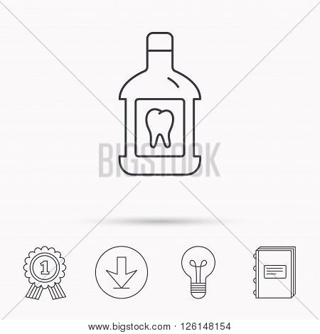 Mouthwash icon. Oral antibacterial liquid sign. Download arrow, lamp, learn book and award medal icons.