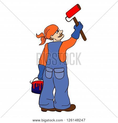 Cartoon painter holding a paintbrush. illustration with simple gradients. All in a single layer.