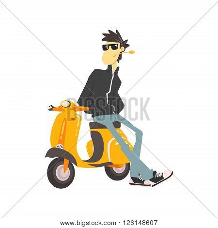 Guy In Leather Jacket Leaning On Scooter Flat Isolated Vector Simple Drawing On White Background In Cartoon Style