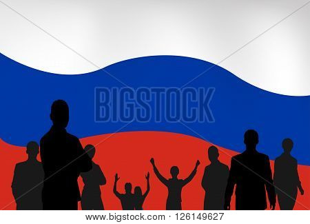 Silhouette People Group Over Russian Federation Flag Background Vector Illustration