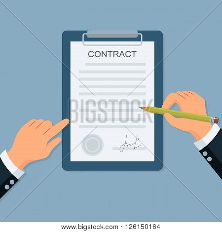 Close-up of a businessman hand with clipboard put the signature on the contract. Businessman hands holding clipboard with contract and pencil in flat style.