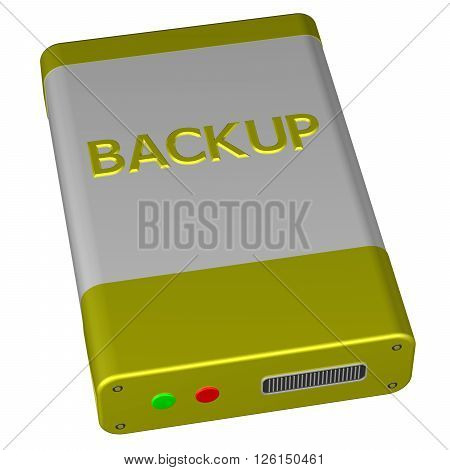 Concept - Backup isolated on white background. 3D rendering.