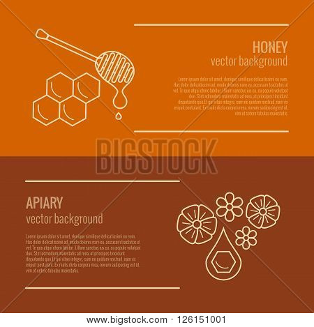 Honey product banner. Honey product vector symbol. Outline style honey product horizontal. Mead product illustration. Vector illustration of honey product banner for your design