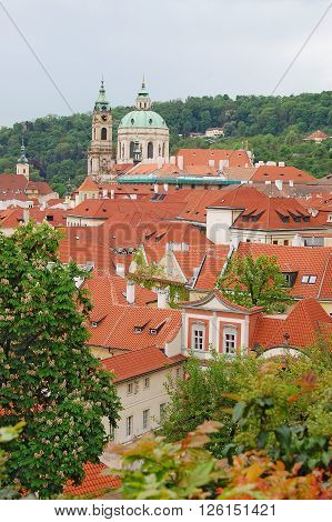 Prague. Old town. Petrin hill. St. Nicholas Church. Palffy palace. Ledebour palace.