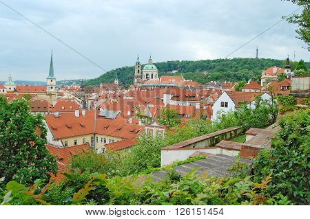 Prague. Old town. Petrin hill.St. Thomas Church. St. Nicholas Church. Palffy palace. Wallenstein palace.