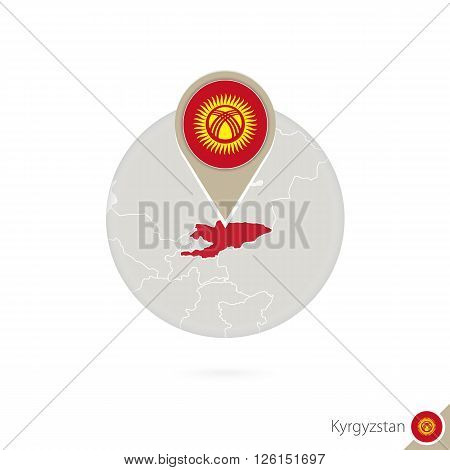 Kyrgyzstan map and flag in circle. Map of Kyrgyzstan Kyrgyzstan flag pin. Map of Kyrgyzstan in the style of the globe. Vector Illustration.