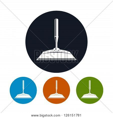 Hoe Icon, Four Types of Colorful Round Icons Draw Hoe , Agricultural Tool , Garden Equipment, Vector Illustration
