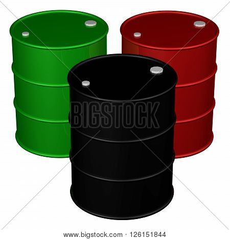 Three barrels isolated on white background. 3D rendering.