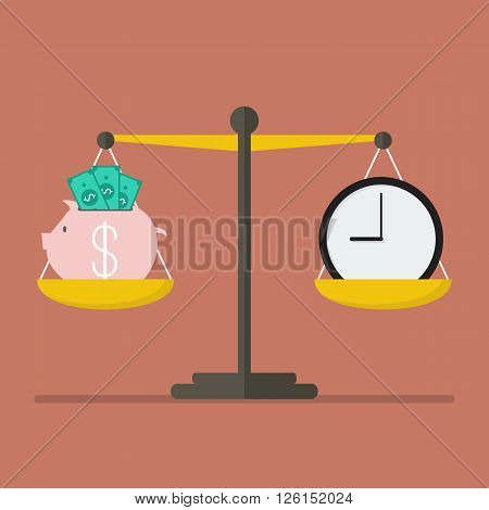 Piggy bank and Time balance on the scale. Money saving concept