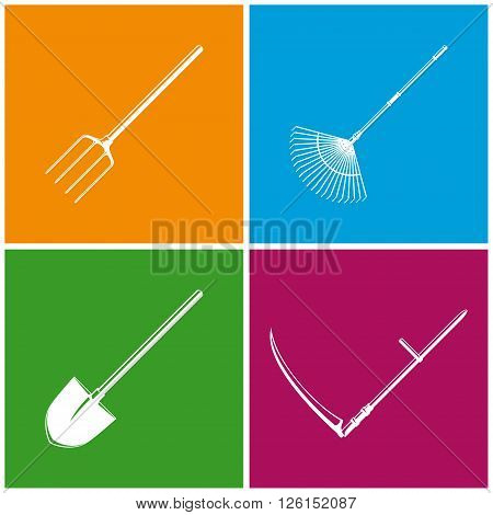 Set of Colored Farming  Icons , Garden and Landscaping Tools , Icon Garden Fork , Icon Garden Leaf Rake , Icon Shovel , Icon Scythe , Garden Equipment , Agricultural Tool  , Vector Illustration