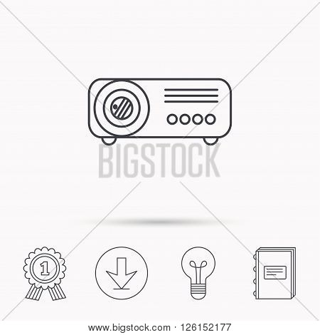 Projector icon. Video presentation device sign. Business office conference tool symbol. Download arrow, lamp, learn book and award medal icons.